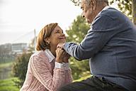 Senior man with daughter outdoors - UUF002681