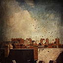 France, Blois, Roofs and flock of birds, Textured effect - DWI000283