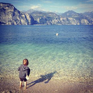 Italy, Brenzone sul Garda, girl at Lake Garda - LVF002222