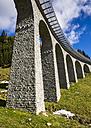 Switzerland, Grisons, Surselva Valley, railway bridge - STSF000587