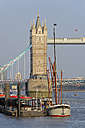 UK, London, sailing ship in front of the Tower Bridge - MIZF000662