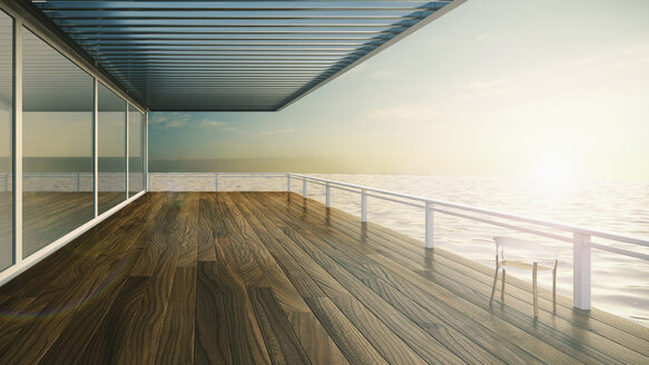 Roofed terrace of luxury residential house at the sea - UWF000254