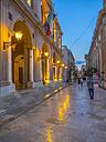 Italy, Sicily, Province of Trapani, Marsala, Old town, Piazza della Repubblica, Via XI Maggio, Palazzo VII Aprile in the evening - AMF003238