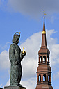 Germany, Hamburg, Barbarossa statue and St. Catherine's Church - MIZF000714