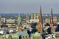 Germany, Hamburg, town hall and church towers - MIZF000757