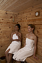 Two young women sitting in a sauna - FSF000357