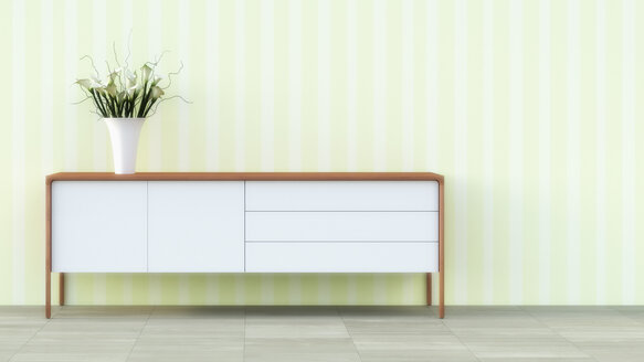 Sideboard with flower vase in front of striped wallpaper - UWF000268