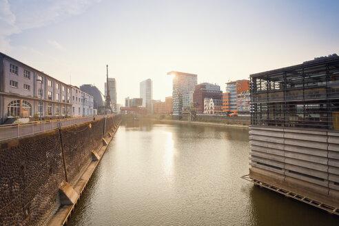 Germany, Dusseldorf, Media Harbour, Old warehouses at Julio Levin Ufer - MEMF000515