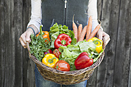 Woman holding basket with vegetables - RBF001975