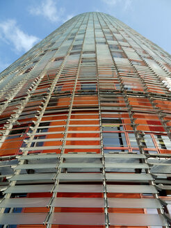 Spain, Catalonia, Barcelona, view to Torre Agbar from below - HLF000775
