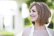 Smiling bride looking away - ZEF002548