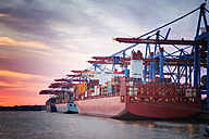 Germany, Hamburg, Port of Hamburg, Harbour, container ship in the evening - ROMF000026