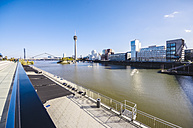 Germany, North Rhine-Westphalia, Duesseldorf, View to Rhine river, Media Harbour and Rhine tower - THAF000974