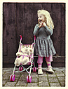 Girl with teddy and buggy - IPF000169