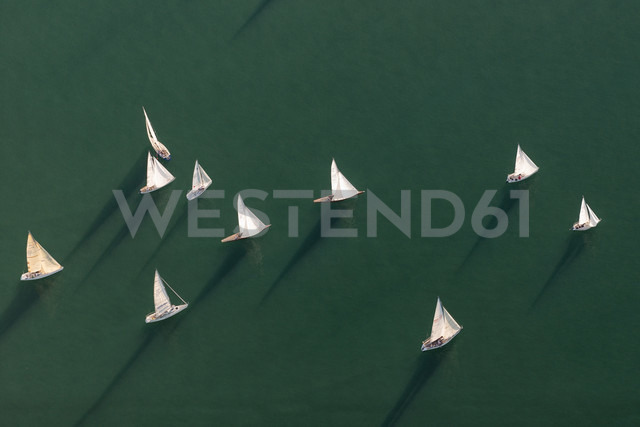 Germany, Baden-Wuerttemberg, Lake Constance, Friedrichshafen, aerial view of sailing boats - SHF001713