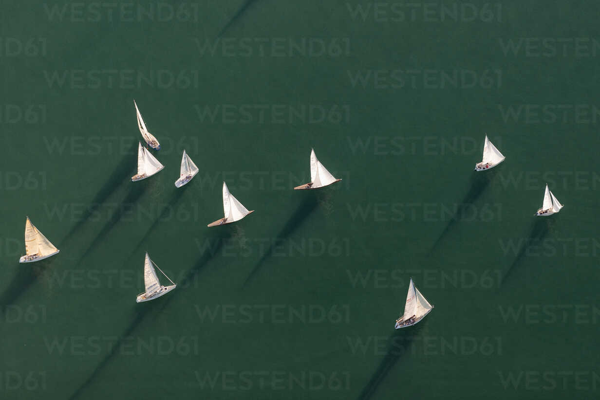Germany, Baden-Wuerttemberg, Lake Constance, Friedrichshafen, aerial view of sailing boats - SHF001713 - Holger Spiering/Westend61