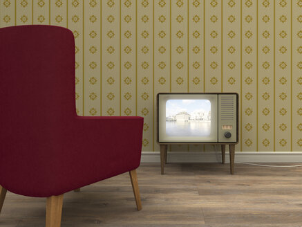 Old television and red armchair in a retro styled living room - UWF000274