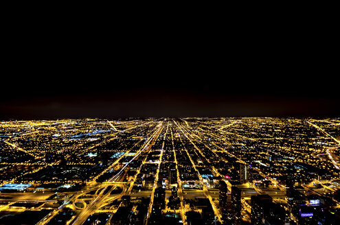 USA, Illinois, Chicago, view to lighted city by night - SMAF000269