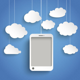 Vector illustration, Smart phone with white clouds against blue background - ALF000254