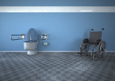 3D Rendering, Disabled toilet with wheel chair - ALF000260