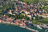 Germany, Baden-Wuerttemberg, Lake Constance, Meersburg, aerial view of old town with harbor - SHF001763