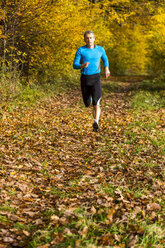 Man running in autumnal forest - STSF000638