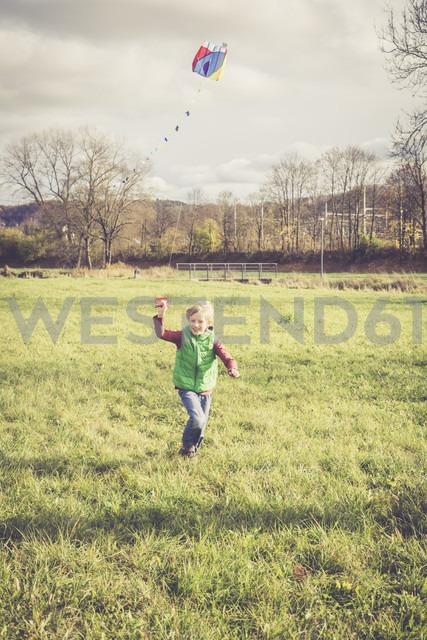 Boy flying a kite on a meadow - SARF001093 - Sandra Roesch/Westend61