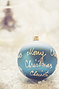 Blue Christmas bauble with the words 'Merry Christmas' - SARF001086