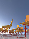 Chairs in front of blue sky, 3D Rendering - UWF000277