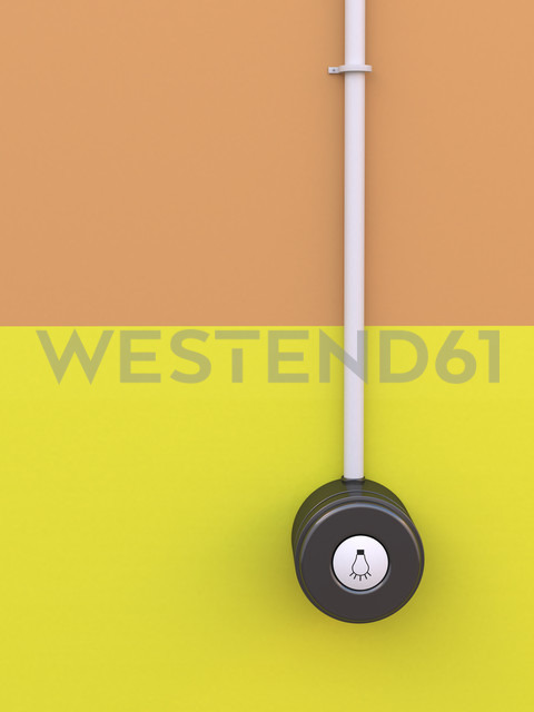 Light switch with icon on yellow orange wall, 3D Rendering - UWF000280