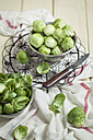 Peeled brussel sprouts in tin bucket, knife, studio - SBDF001448