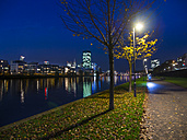 Germany, Hesse, Frankfurt, Theodor-Stern-Quay, Westhafen Tower at night - AMF003353