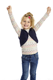 Winning blond little girl in front of white background - GDF000627