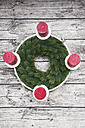 Advent wreath and four candles on wood - LVF002399