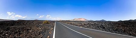 Spain, Canary Islands, Lanzarote, Tinajo, road through Timanfaya National Park - AMF003379