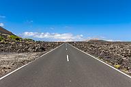 Spain, Canary Islands, Lanzarote, Tinajo, road through Timanfaya National Park - AMF003381