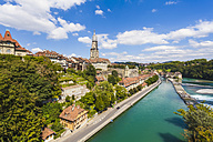 Switzerland, Bern, cityscape with minster and River Aare - WDF002758