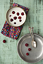 Bowl of vanilla yoghurt with chia, Salvia hispanica, and raspberries on cloth and green wood - MYF000735