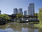 Canada, British Columbia, Vancouver, view to Chinese Garden and skyscrapers in the background - HLF000802