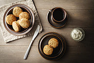 Cup of tea and plate with scones - EVGF001394