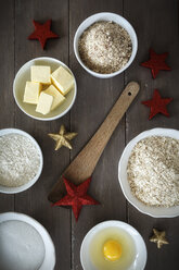 Bowls with baking ingredients at Christmas time - EVGF001397