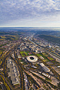 Germany, Baden-Wuerttemberg, Stuttgart, aerial view of Neckarpark with Mercedes-Benz Arena - WDF002774