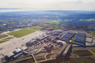 Germany, Baden-Wuerttemberg, Stuttgart, aerial view of airport and trade fair premises - WD002779