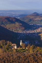 Germany, Baden-Wuerttemberg, Albtrauf, aerial view of Lichtenstein Castle - WDF002798