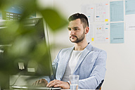 Young businessman in office working at computer - UUF002825