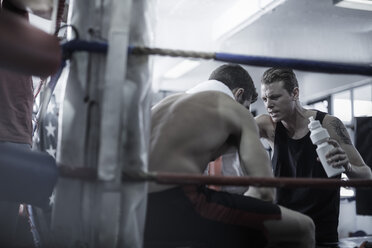Boxer having a break with trainer in the corner of the boxing ring - ZEF002505
