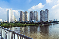 Vietnam, Ho Chi Minh City, branch of Saigon River and apartment tower complex - WEF000304