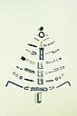 Christmas tree formed of hardware on light ground - CM000206