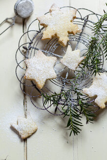 Home-baked Christmas cookies and fir branch on cooling grid - SBDF002153