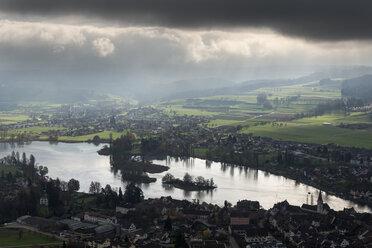 Switzerland, Schaffhausen, Stein am Rhein, view to Rhine River with Isles of Werd - EL001411